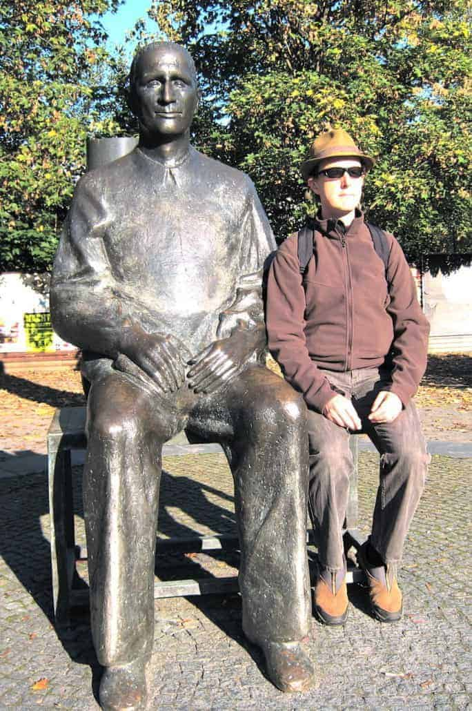 With Berthold Brecht in Berlin. He's the one looking slightly more natural.